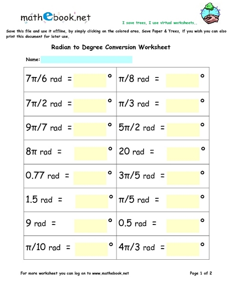 Radian to Degree Conversion Worksheet 5th - 6th Grade Worksheet ...