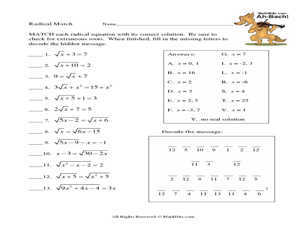 Printables Solving Radical Equations Worksheet radical equation match up 9th 12th grade worksheet lesson planet