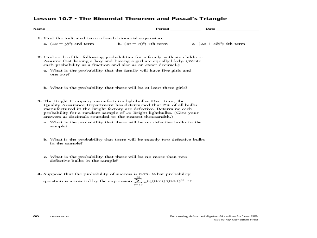 worksheet Binomial Expansion Worksheet randomness and probability 11th grade worksheet lesson planet