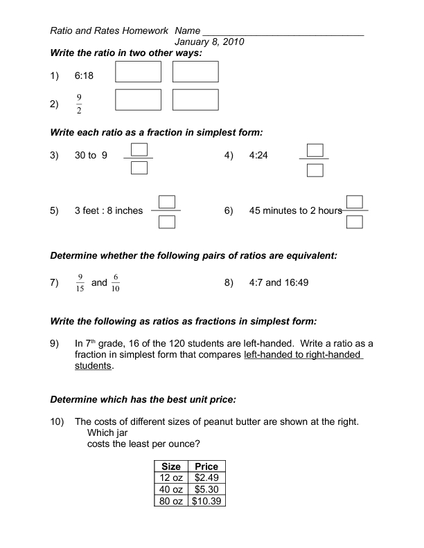 Ratio and Rates Homework 6th 8th Grade Worksheet – Rates and Ratios Worksheets