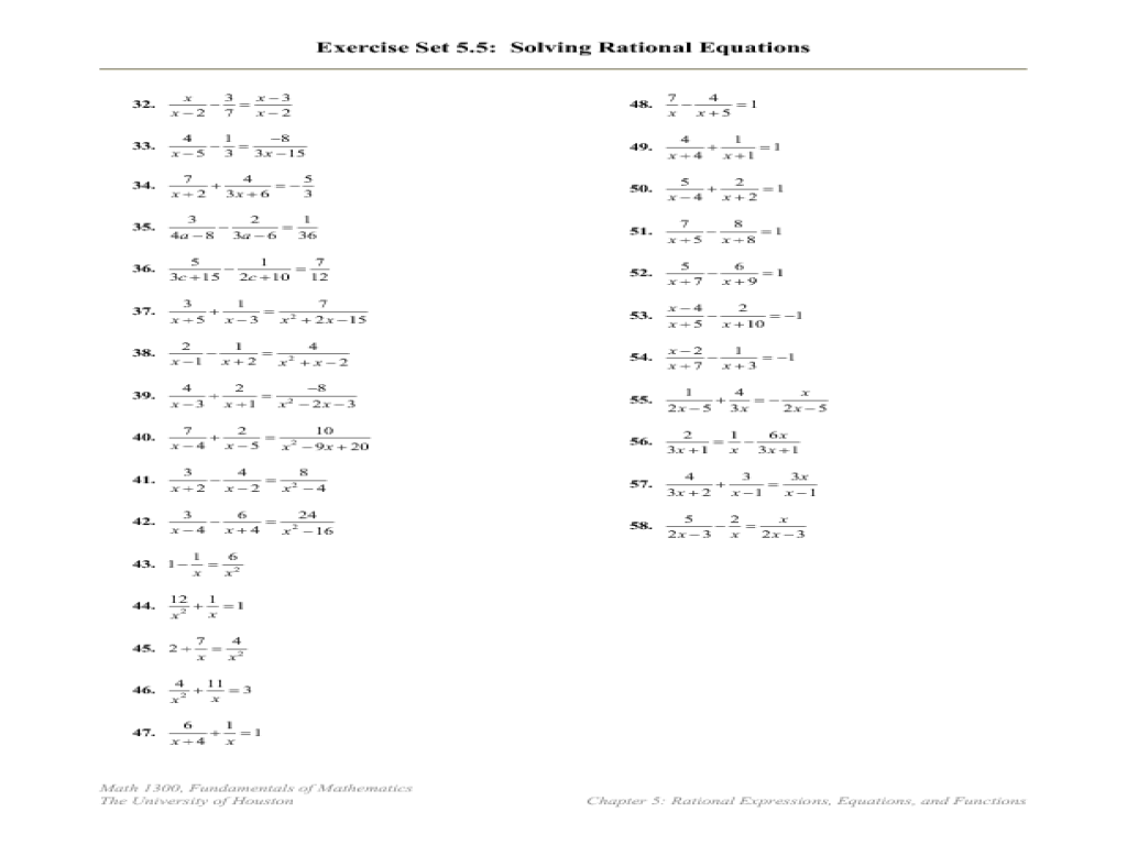 Printables Rational Equations Worksheets rational equations higher ed worksheet lesson planet