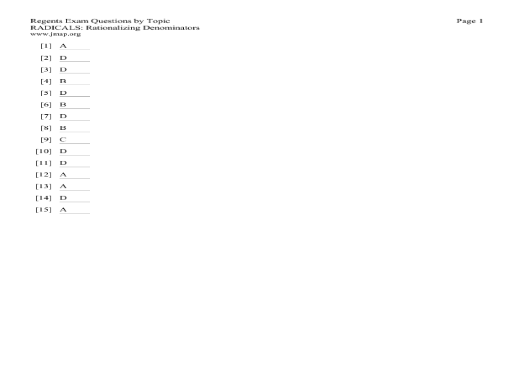 Worksheets Rationalize The Denominator Worksheet Cheatslist Free