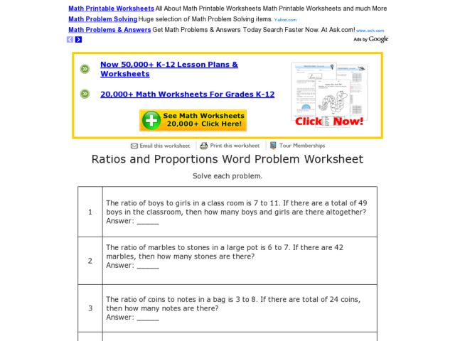 Ratios And Proportions 6th Grade Math Worksheets  ratio worksheetsratio worksheets6th grade