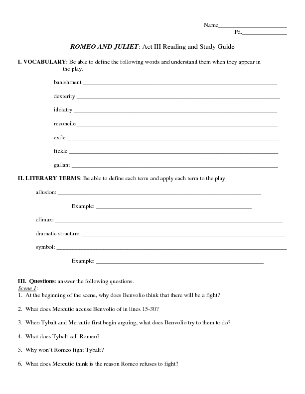 Reading and Study Guide Romeo and Juliet Act III 8th 11th Grade – Romeo and Juliet Worksheets