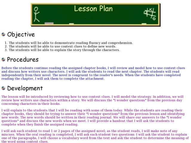 4th grade reading comprehension lesson plan