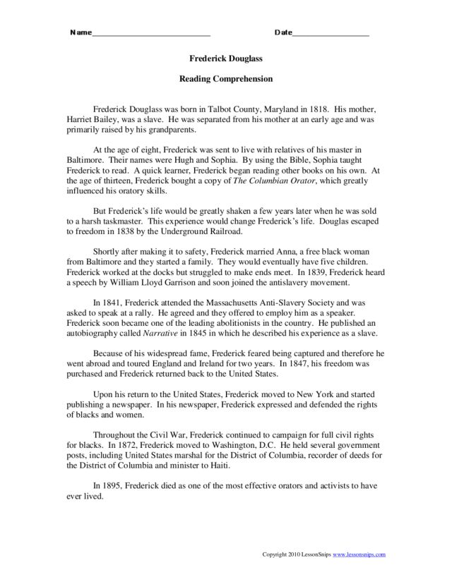 Printables Frederick Douglass Worksheet reading comprehension frederick douglass 4th 6th grade worksheet lesson planet