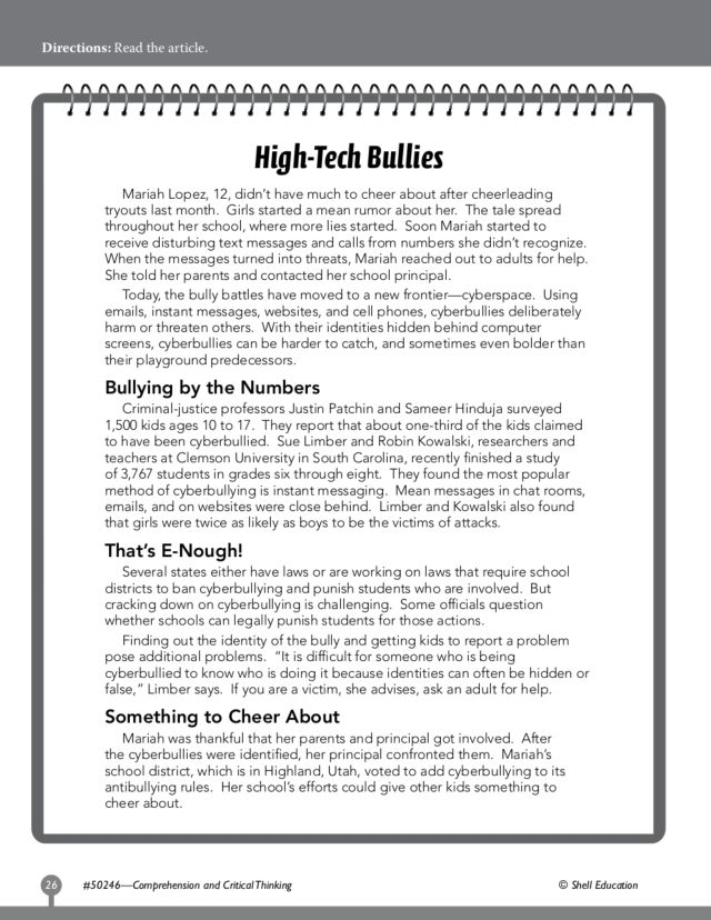 Bullying Worksheets Deployday – Reading Comprehension Worksheets for High School