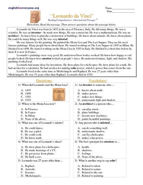 "Reading Comprehension - Informational Passages "" Leonardo da Vinci ..."