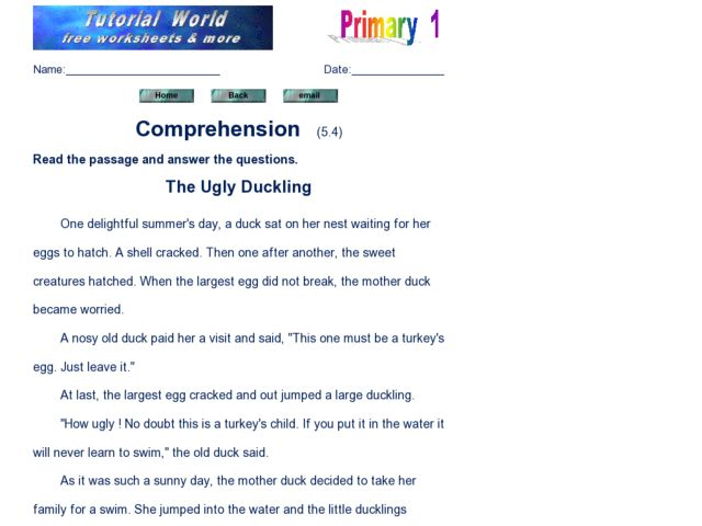 Reading Comprehension: The Ugly Duckling 2nd - 3rd Grade Worksheet ...
