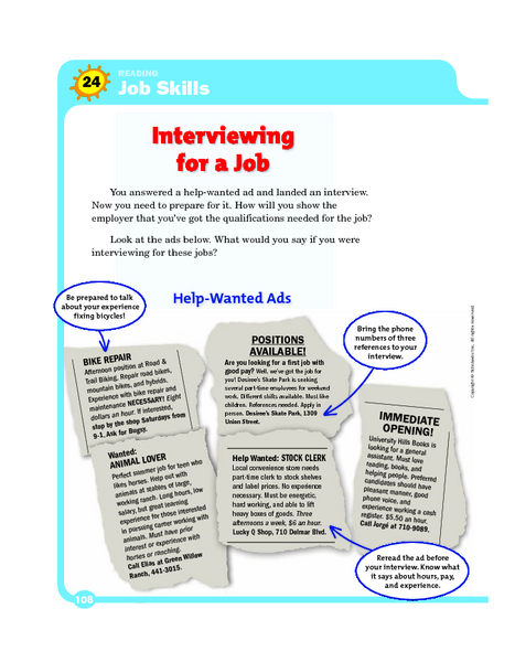 Reading Job Skills: Interviewing for a Job 6th - 9th Grade ...