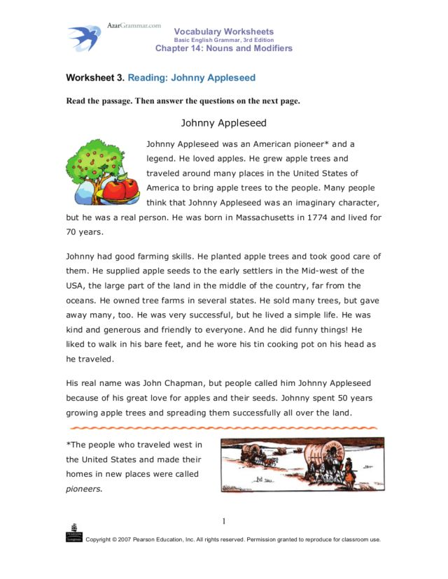 Reading Johnny Appleseed 2nd 3rd Grade Worksheet – Pearson Education Inc Worksheets