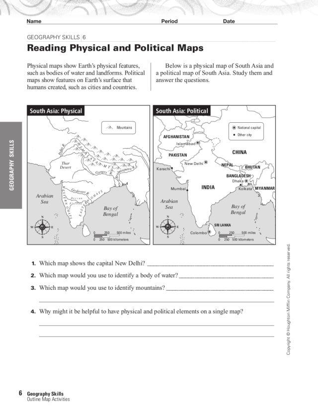 Political Map Worksheets – Map Skills Worksheets 3rd Grade