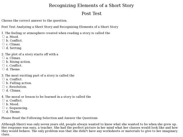 story elements worksheet Termolak – Story Elements Worksheet