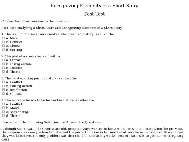 Collection of Short Story Elements Worksheet Sharebrowse – Story Plot Worksheets