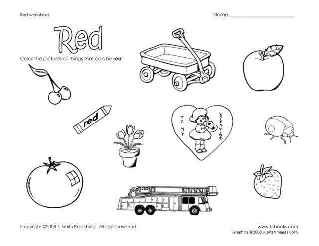 Color red worksheets