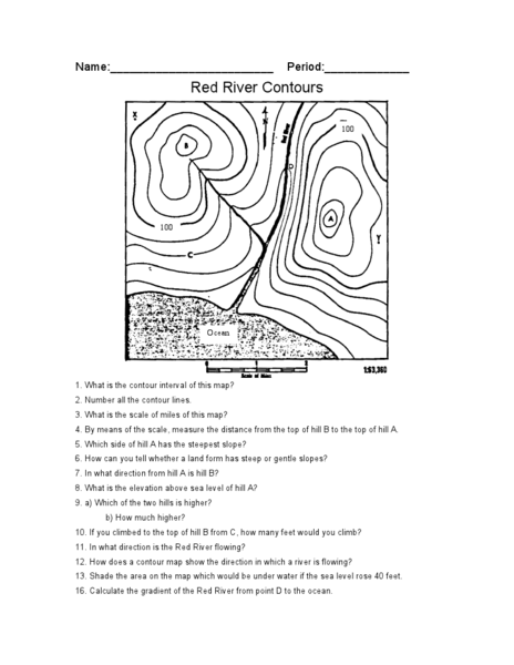 Printables Topographic Map Worksheet Answers red river contours 7th 10th grade worksheet lesson planet