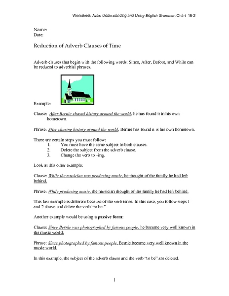 Reduction of Adverb Clauses of Time 7th - 9th Grade Worksheet ...