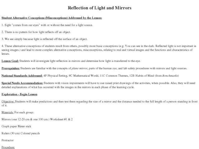 Light Mirror Reflection Reflection of Light And
