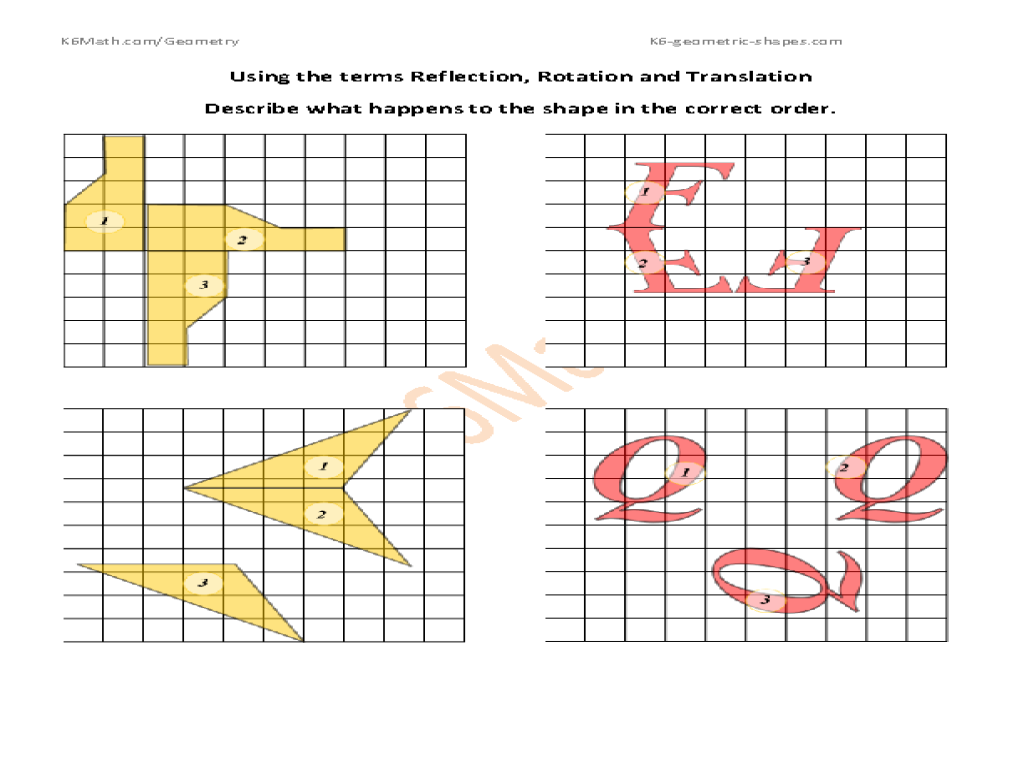 worksheet Rotation Translation Reflection Worksheet translation rotation and reflection worksheet 28 templates by 4th grade math worksheets transformation