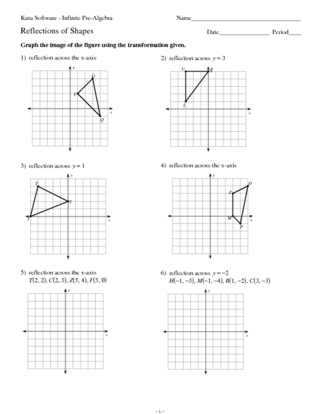 Printables Reflections Worksheet Geometry reflections of shapes 7th 10th grade worksheet lesson planet