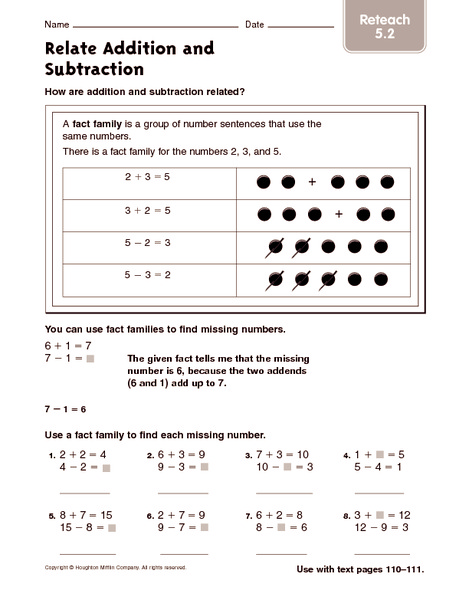 math worksheet : relate addition and subtraction reteach 3rd  4th grade worksheet  : Relating Addition And Subtraction Worksheets