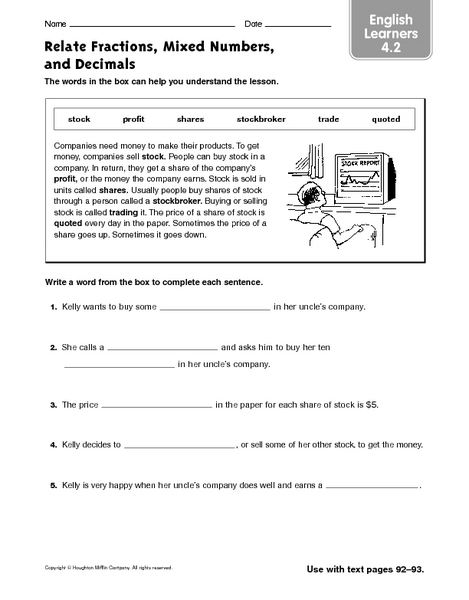 math worksheet : relate fractions mixed numbers and decimals ell 4th  6th grade  : Mixed Number To Decimal Worksheet