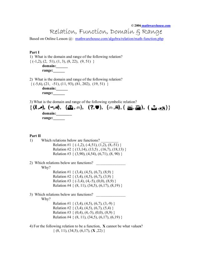Worksheet Domain And Range Of Relations Functions Templates and – Domain and Range of a Function Worksheet