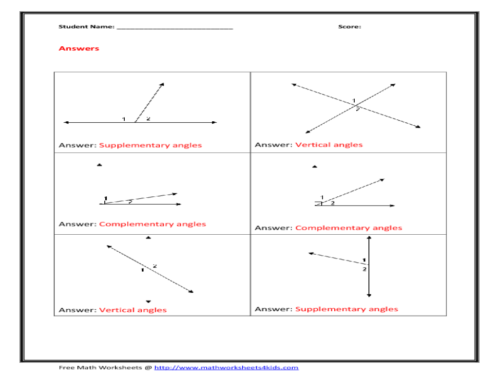 Complementary Supplementary Vertical Angles Worksheet Free ...