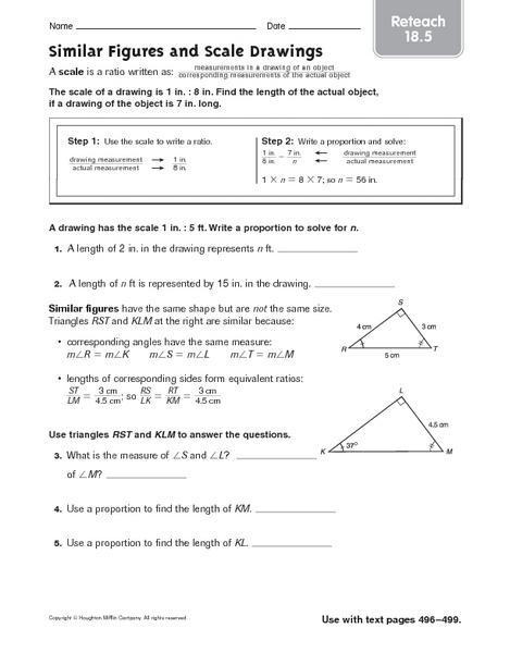 Printables Scale Drawing Worksheets scale drawing worksheets versaldobip reteach similar figures and drawings 4th 6th grade