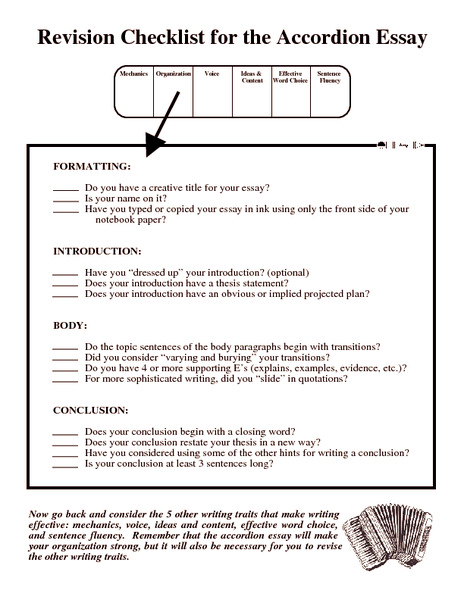 process essay revision checklist Editing checklist for high school 5 paragraph expository essays i believe it is important to provide students with an editing checklist to make the revision process.
