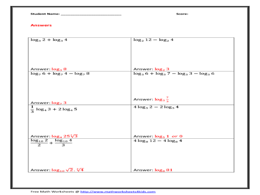 Logarithmic And Exponential Equations Worksheet - Jennarocca