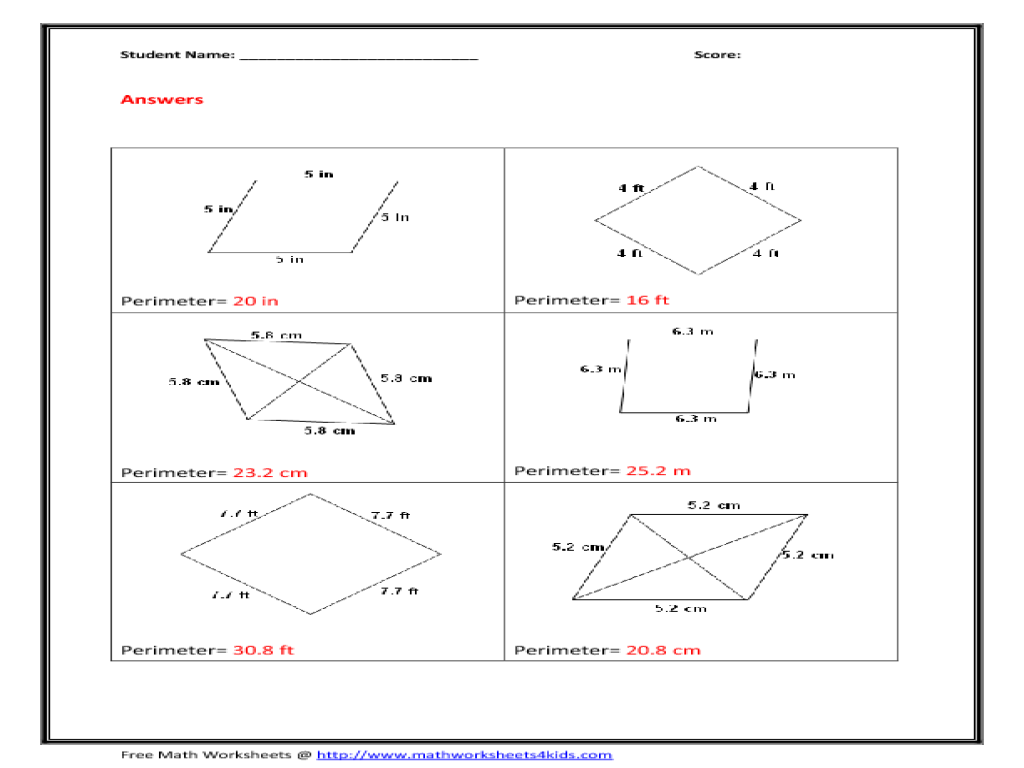 Area of Rhombus Worksheet for 4th - 6th Grade | Lesson Planet