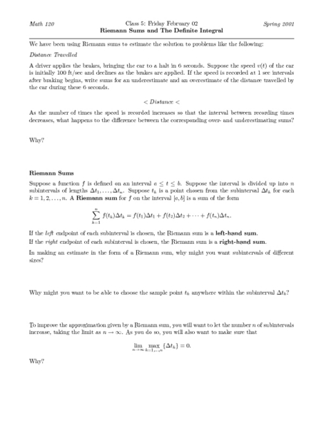 Riemann Sums and the Definite Integral Higher Ed Worksheet ...