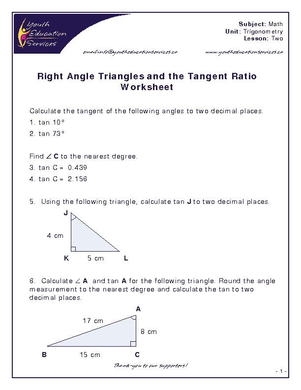 Worksheets Tangent Ratio Worksheet right angle triangles and the tangent ratio worksheet 10th 12th grade lesson planet