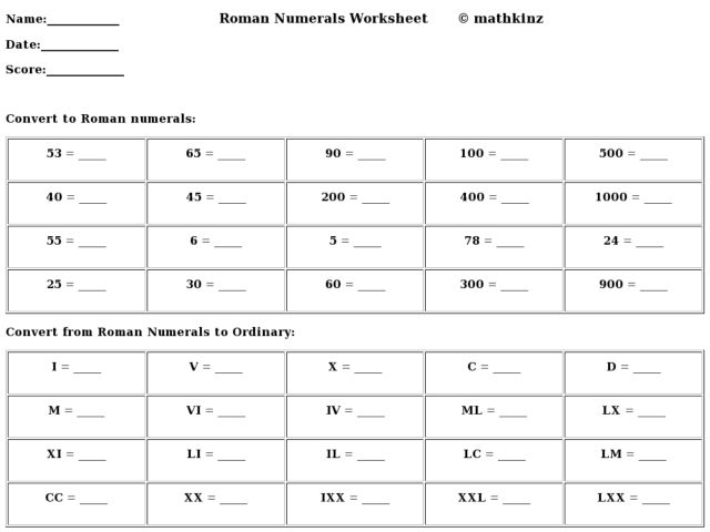 Roman Numeral Conversions 3rd 5th Grade Worksheet – Roman Maths Worksheets