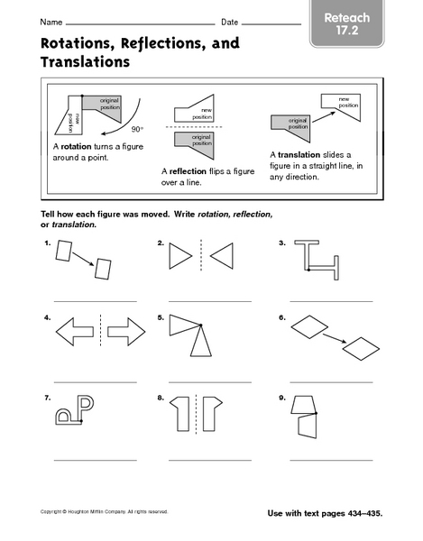 Printables Translations Worksheet worksheets translation rotation reflection worksheet laurenpsyk 8th grade mat