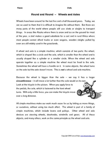 Round and Round--Wheels and Axles 4th - 6th Grade Worksheet ...