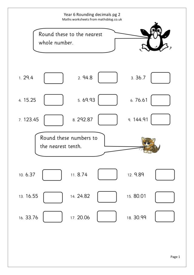 Round Decimals to the Nearest Whole Number 5th 6th Grade – Rounding Decimal Numbers Worksheets