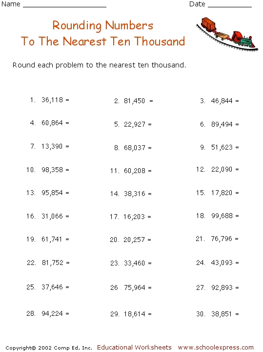 Free Worksheets Ordering Numbers Thousands Worksheets Free – Rounding to the Nearest Thousand Worksheet