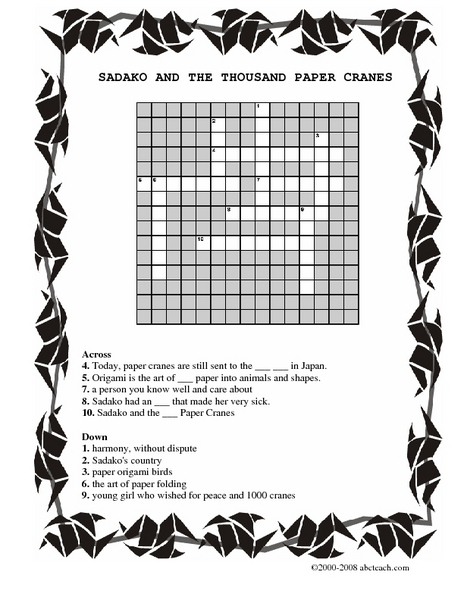 sudoku and the thousand paper cranes All about reviews: sadako and the thousand paper cranes by eleanor coerr librarything is a cataloging and social networking site for booklovers.