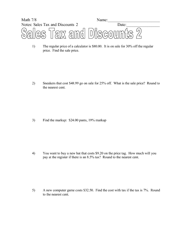 Printables Sales Tax Worksheet sales tax and discounts 7th 9th grade worksheet lesson planet