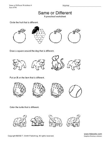 Same or Different #4 A Preschool Worksheet Kindergarten - 1st ...