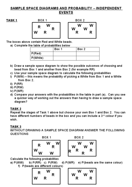 Sample Space Diagrams and Probability - Independent Events 6th ...