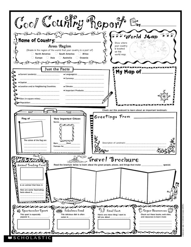 Worksheet Scholastic Printable Worksheets scholastic worksheets junior and cool country report 3rd 5th grade worksheet