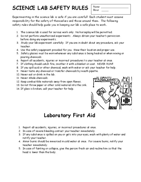 Printables Lab Safety Worksheets science lab safety rules 8th grade worksheet lesson planet