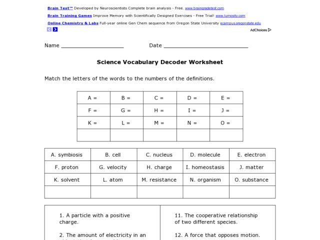 scientific method vocabulary worksheet worksheets