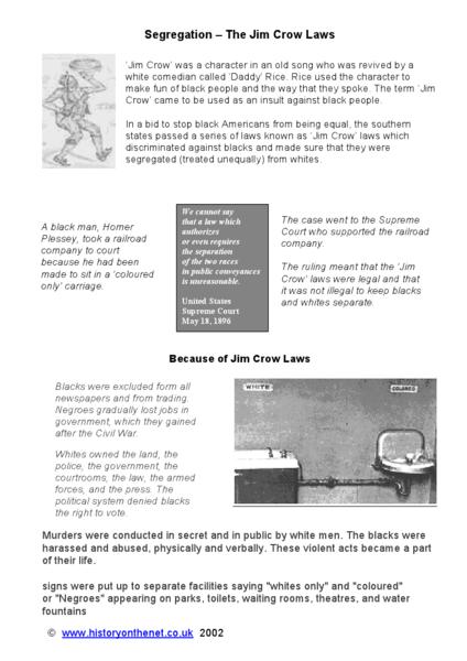 Segregation - The Jim Crow Law 5th - 7th Grade Worksheet | Lesson ...