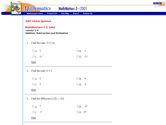 math worksheet : self check quizzes addition subtraction and estimation 7th  9th  : Checking Subtraction With Addition Worksheet