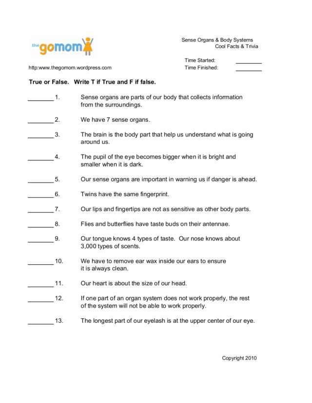 Sense Organs Body Systems Cool Facts Trivia 4th 12th Grade – Body Systems Worksheet
