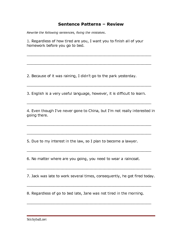 Sentence Patterns – Review 5th - 8th Grade Worksheet | Lesson Planet